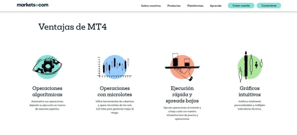 ventajas de la plataforma mt4 de markets.com