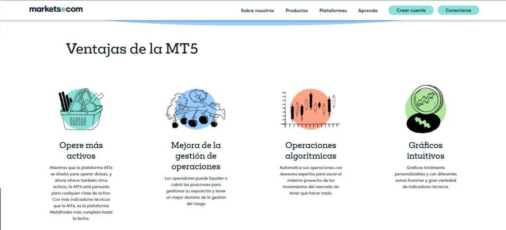 ventajas de la plataforma mt5 de markets.com
