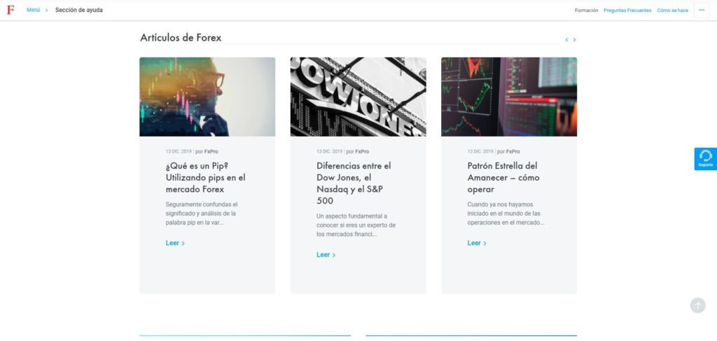 fxpro sección artículos de forex
