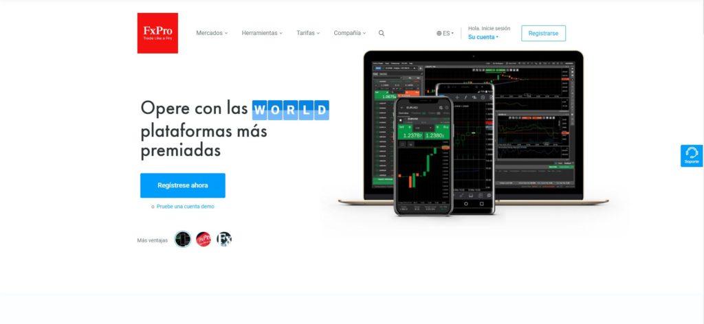 la homepage de fxpro