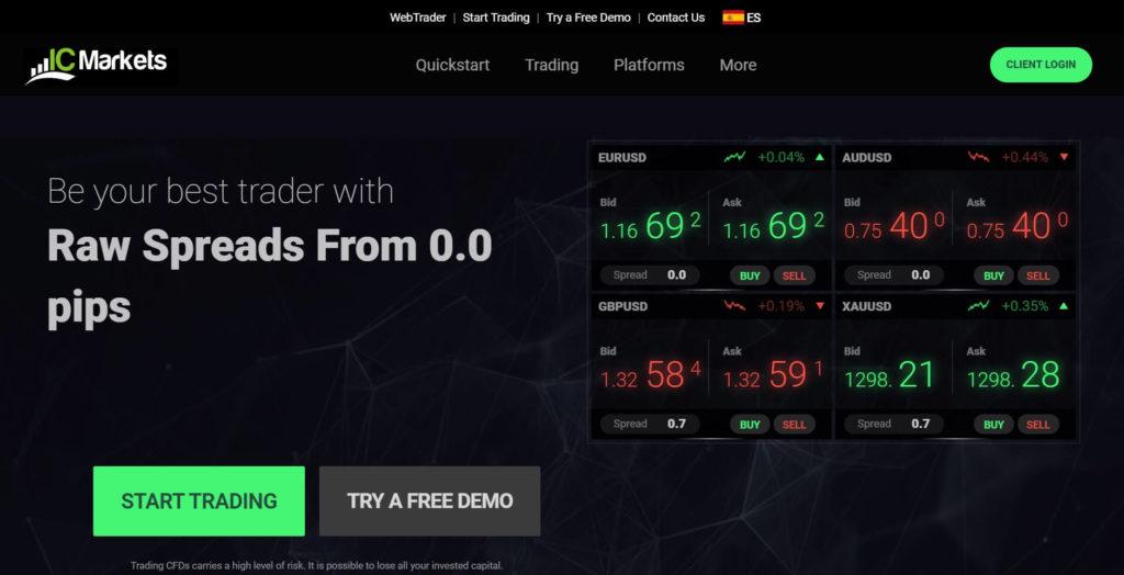 La pagina principal del sito de ic markets