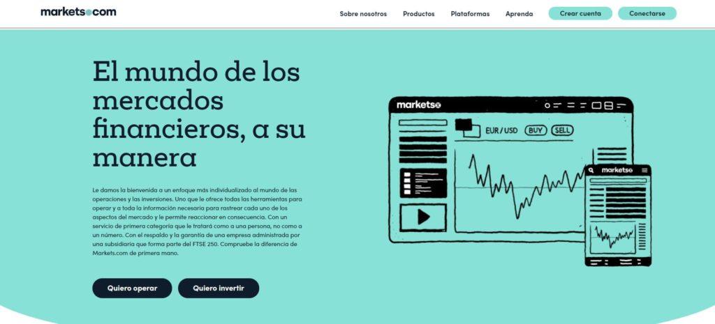la homepage de markets.com