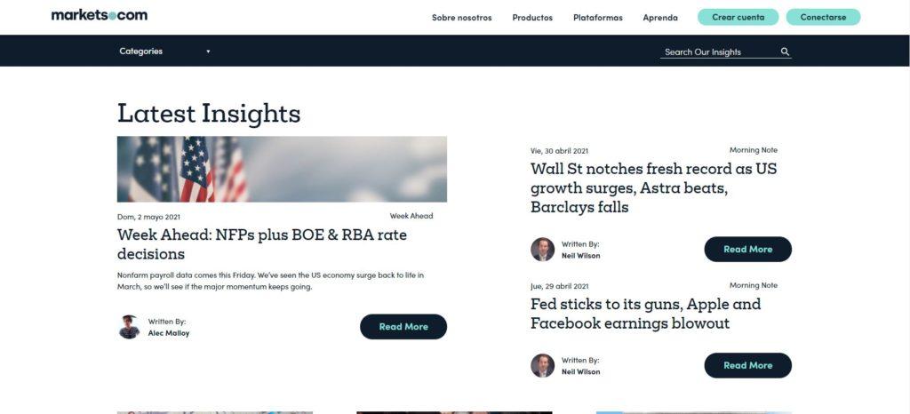 sección últimas noticias de markets.com