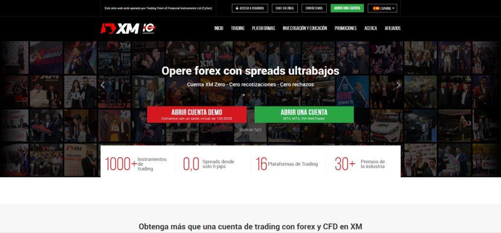la homepage de xm