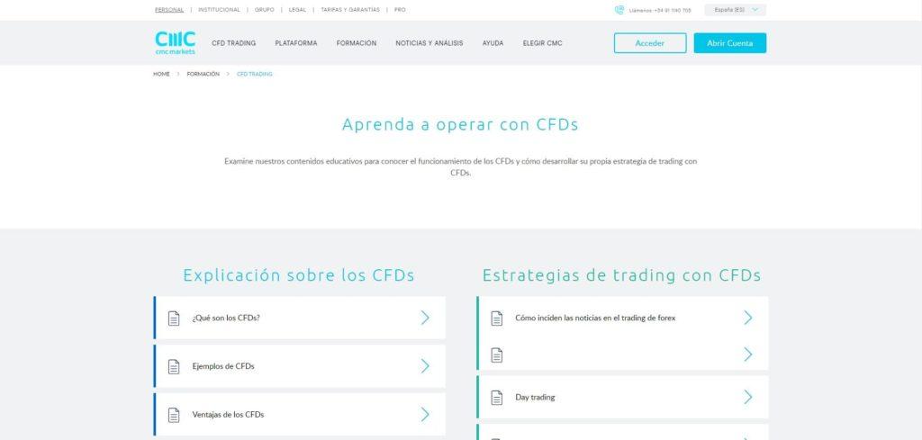 sección aprenda cfd trading con cmc markets