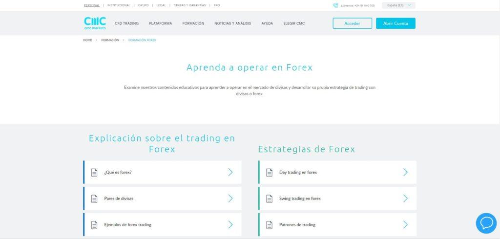 sección aprenda forex con cmc markets