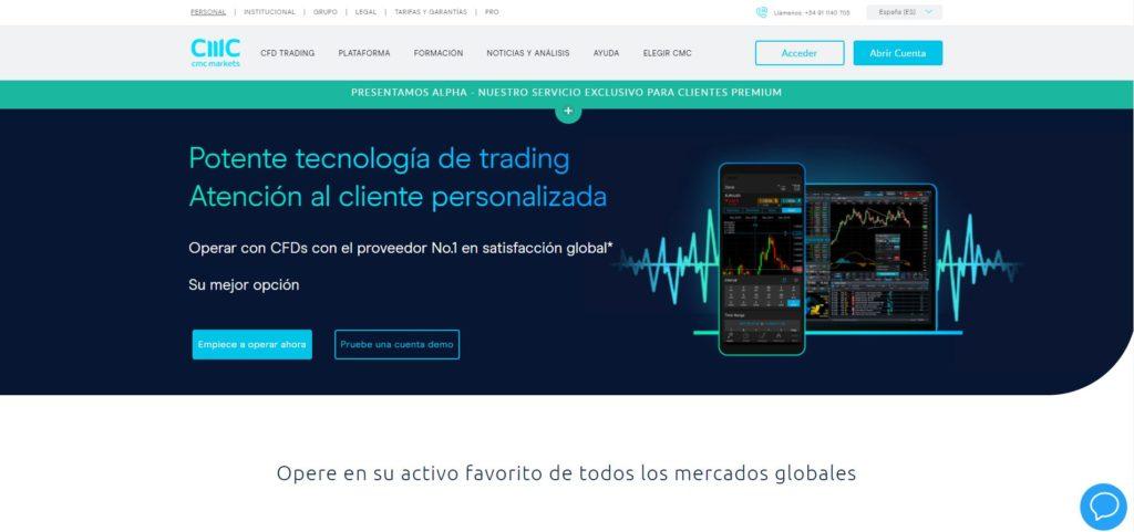 la homepage de cmc markets