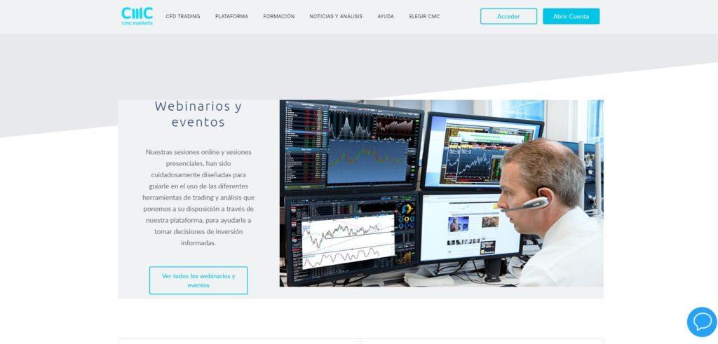 sección webinarios y eventos de cmc markets