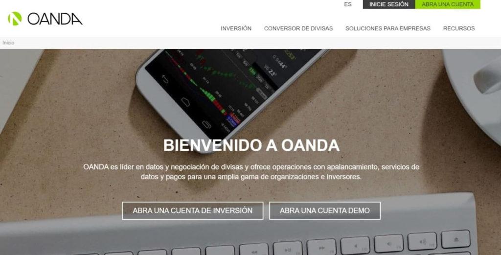 La pagina principal del sito de oanda