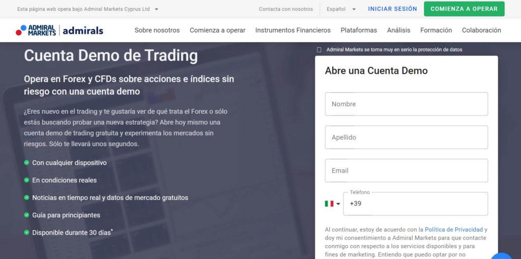 Abre una cuenta demo con admiral markets