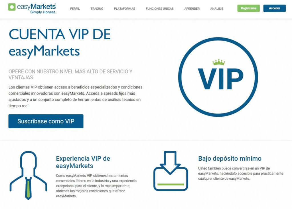 La cuenta vip disponible con easymarkets