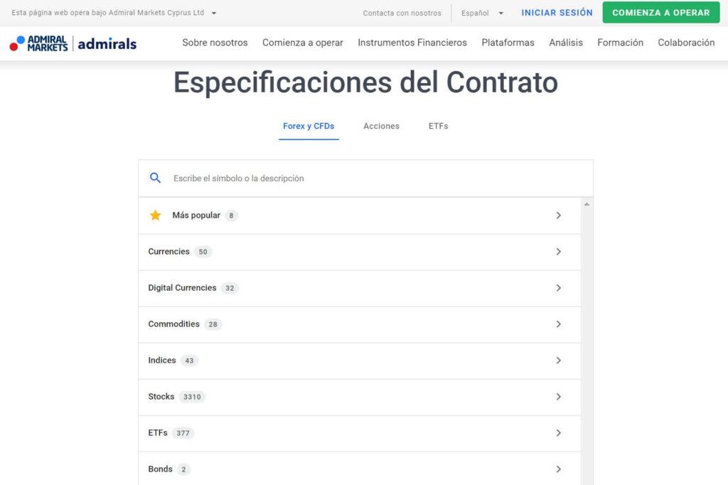 Las especificaciones del contrato con admiral markets