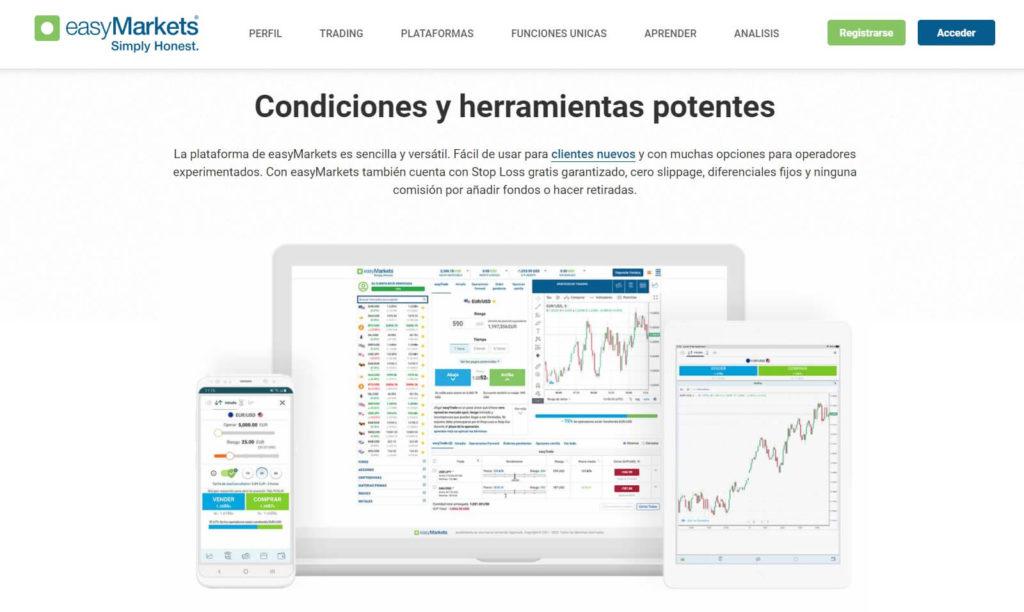 Las condiciones y herramientas disponibles con easymarkets