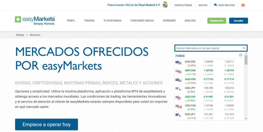 Los mercados que estan ofrecidos por easymarkets