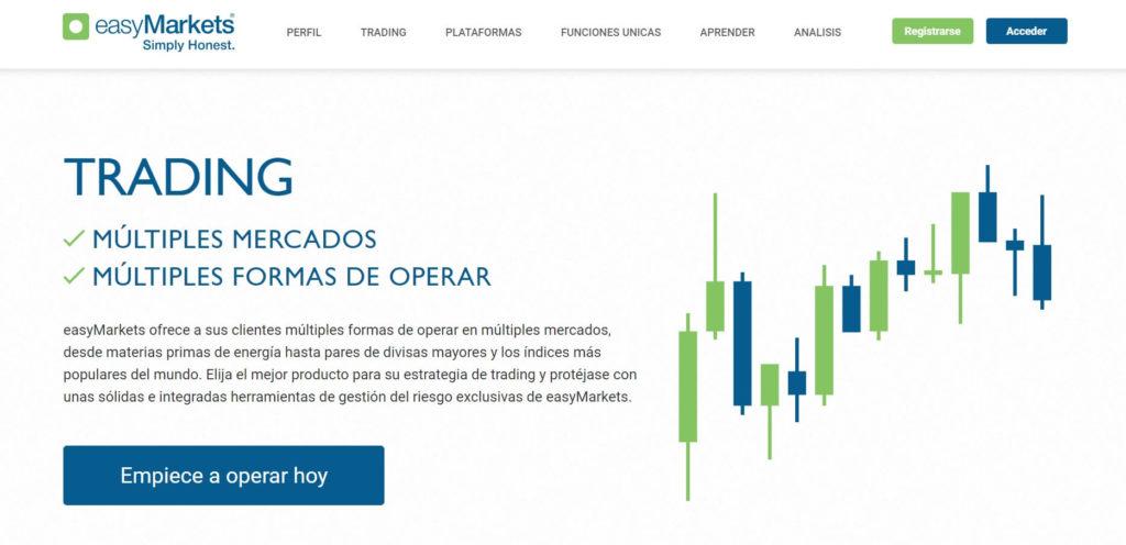 Multiples formas de operar multiples mercados con easymarkets