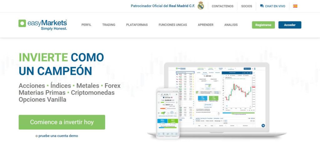 La pagina principal del sito de easymarkets