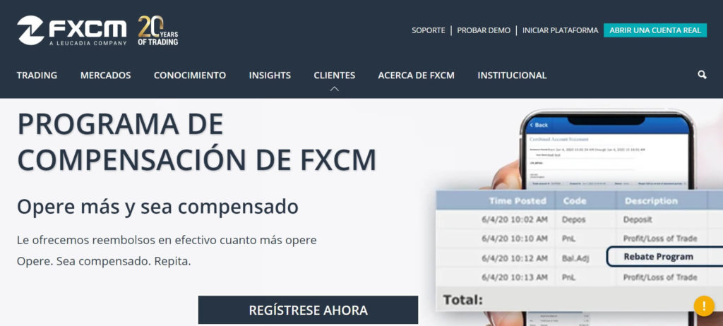 El programa de compensacion de fxcm