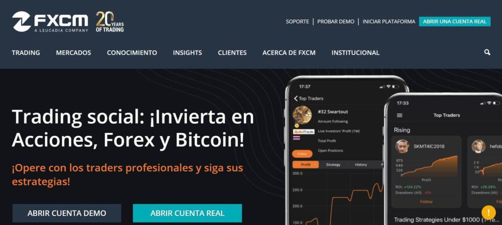 La pagina principal del sito de fxcm