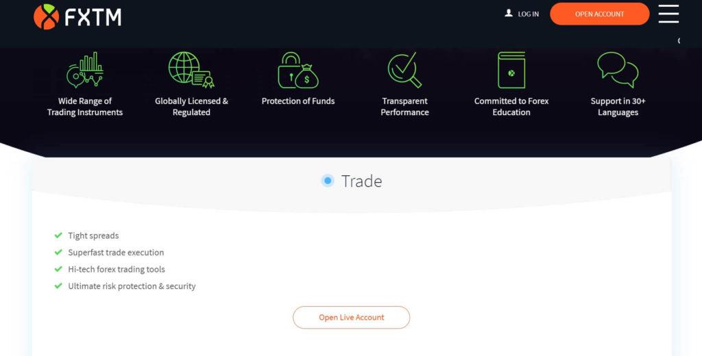 Las caracteristicas de trading con una cuenta de trading de fxtm