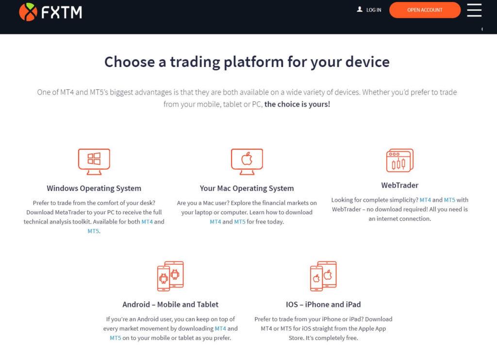 Elige una plataforma de trading por tu dispositivo con fxtm