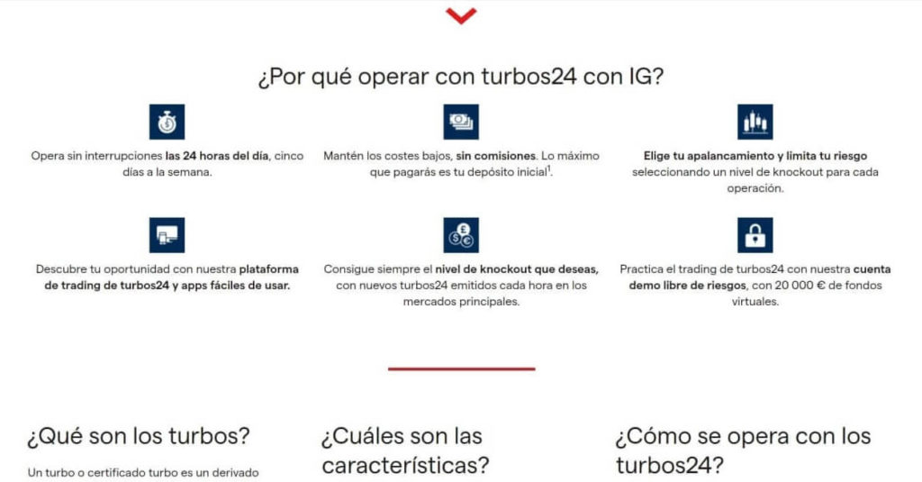 Por qué operar con turbos24 con ig markets