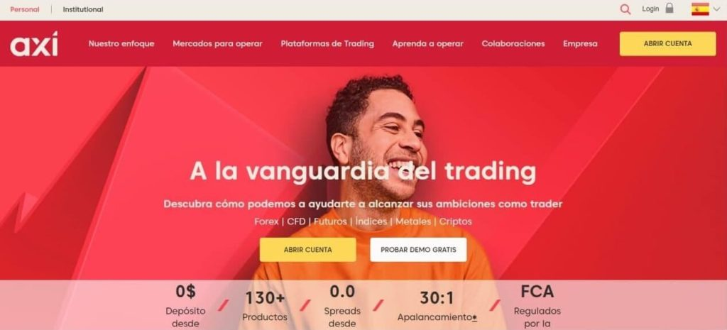 Las homepage del website de axi