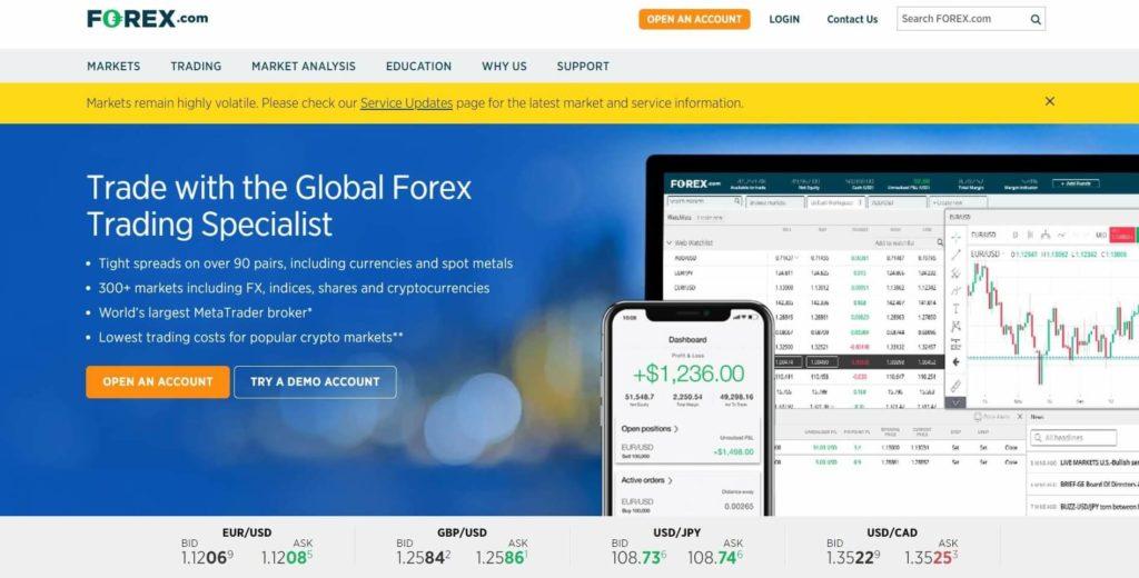 La pagina principal del sito de forex.com