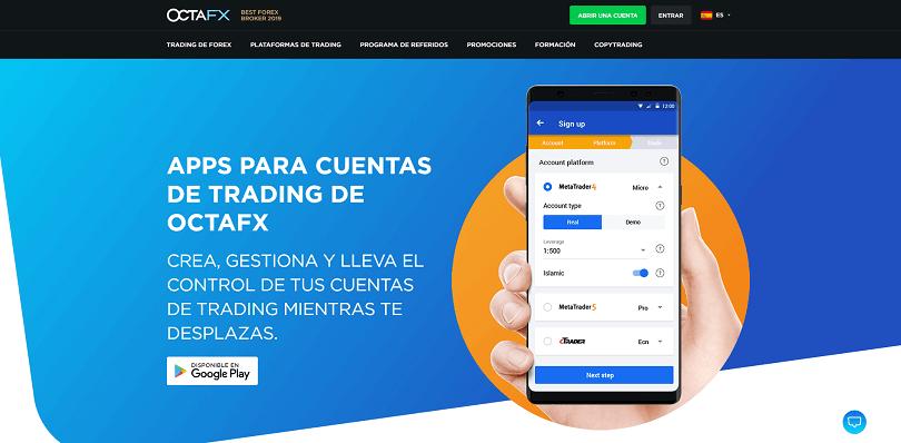 La app de trading mobile de octafx para cuentas de trading