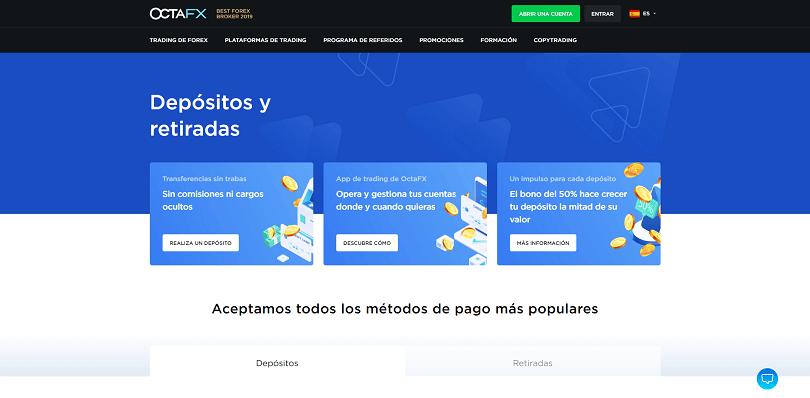 Los depositos y retiradas disponibles con Octafx