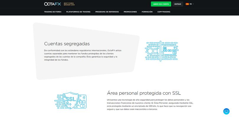 OctaFX utiliza cuentas separadas para su traders