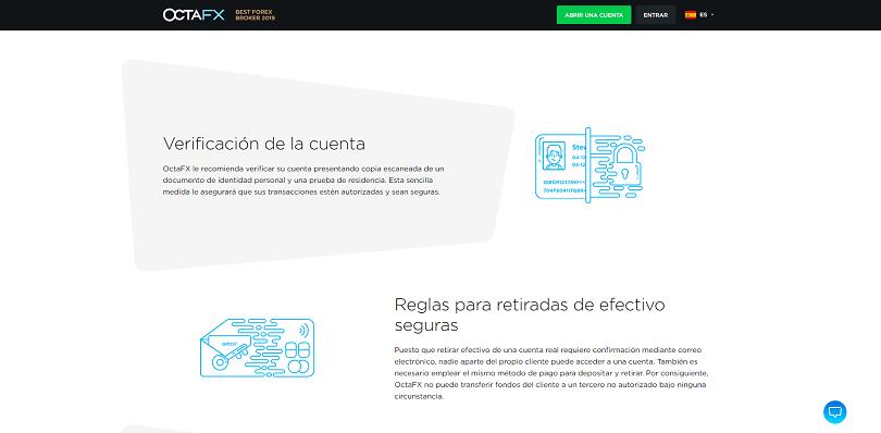 La verificacion de la cuenta de trading con Octafx