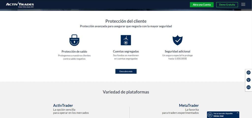 protección del cliente ofrecido por activtrades