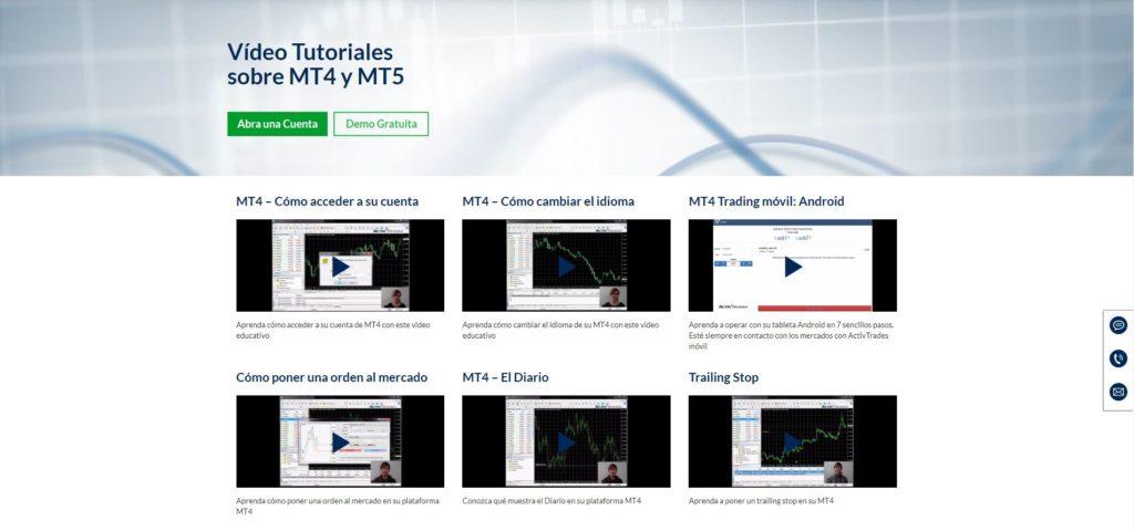 activtrades sección vídeo tutoriales