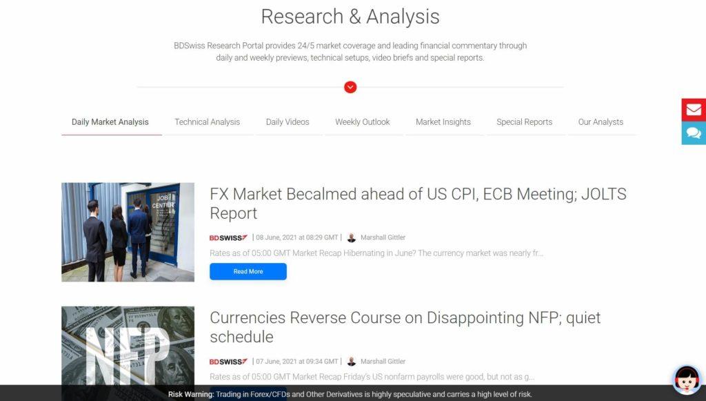 Las analisis y el diario de mercado de BDSwiss