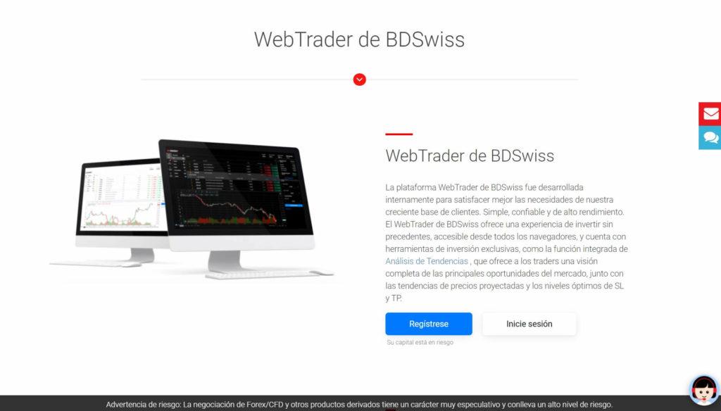 La webtrader de BDSwiss