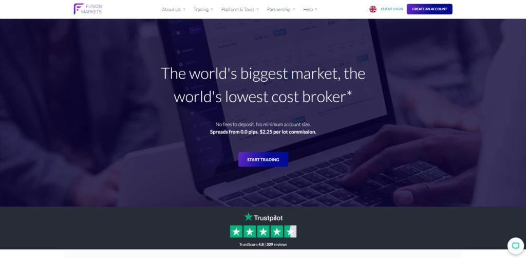 La homepage de fusion markets