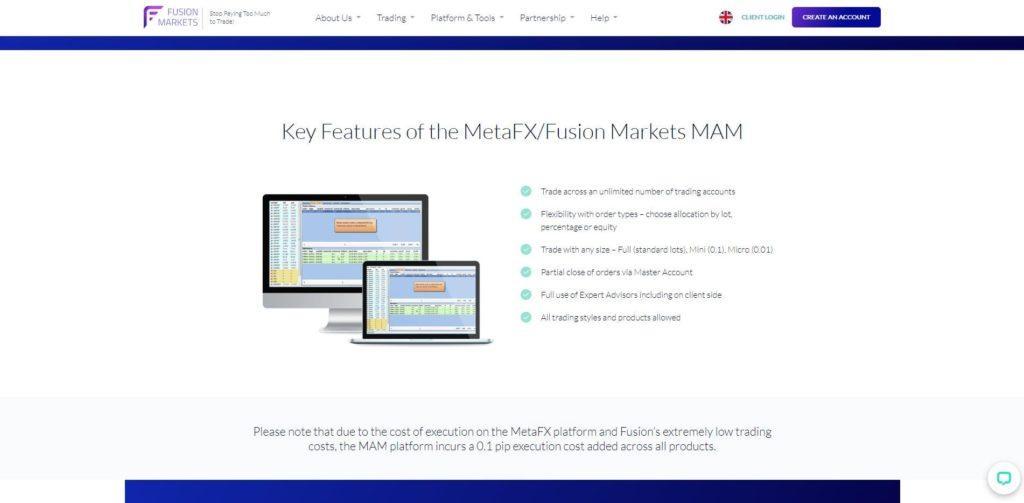 La plataforma MetaFX de Fusion Markets