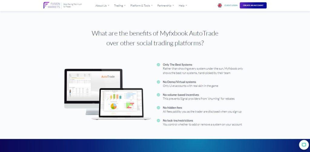 La plataforma Myfxbook con Fusion Markets