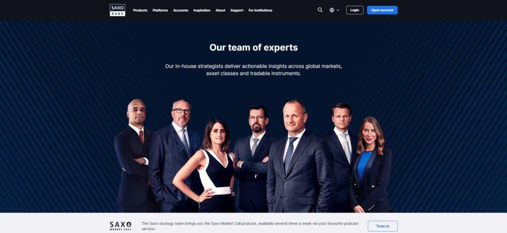 la sección equipo de expertos de saxo bank