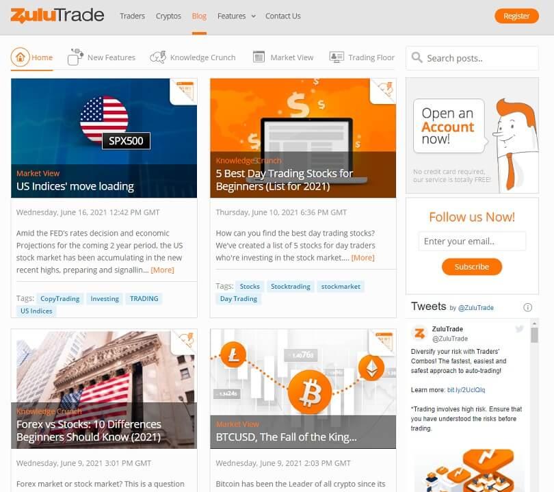 El blog de ZuluTrade con los articulos de los mercados